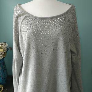 Hannah Grey Sweater with Rhinestones sz L